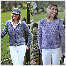 KNITTING PATTERN Ladies Textured Cardigan and Jumper Aran Combo King Cole 4625
