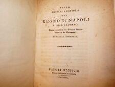 STORIA - VIVENZIO, Nicola: Delle Antiche Provincie del REGNO di NAPOLI 1808 Raro