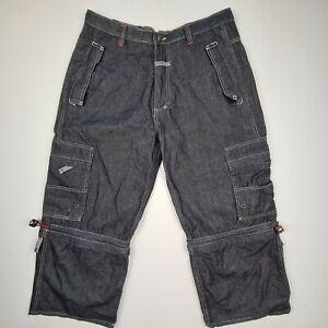 Vintage Johnny Blaze Size 36 Baggy 3/4 Jeans Convertible Shorts Skater Hip Hop