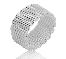 925 Sterling Silver plated Mesh Ring