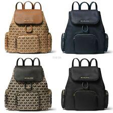 Latest Michael Kors ABBEY Women Large Cargo Backpack Black Brown Logo Navy Nylon