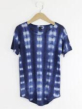 J Crew Womens Navy Tie Dye Linen T-Shirt Size XXS (UK Size 8/10)