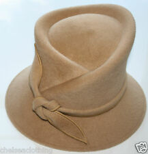 WHITELEY Trilby Hat Tied Bow Caramel/Beige Fur Felt Sculptural Wedding/Races