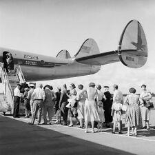 "Aviation, ""Passengers Waiting to Board - 1950's"" digital print, 24x24, B&W photo"