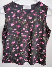 Casual Corner Annex Pettite Women's Top S Small Black Pink Floral