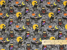 Halloween H'Owl OWL Moon Marcus Fabric by the 1/2 Yard  #5286