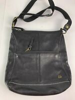 The Sak Black Leather Handbag Purse Large Tote Zipper Crossbody Bag