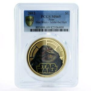 Niue 1 dollar Star Wars series Jabba the Hutt MS69 PCGS gilded copper coin 2012