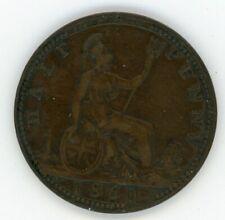 1860 UK Great Britain Half Penny Coin Queen Victoria
