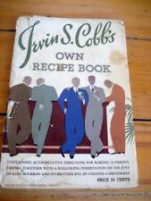 IRWIN S COBB'S OWN RECIPE  BOOK 1934 FRANKFORT DISTILLERIES, LOUISVILLE KENTUCKY