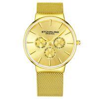 Stuhrling 3931 3 Monaco Day Date Multi Function Mesh Bracelet Mens Watch