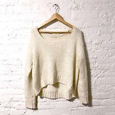 Women Medium  Chunky Knit Crop Sweater Pullover Winter Fuzzy Shimmer