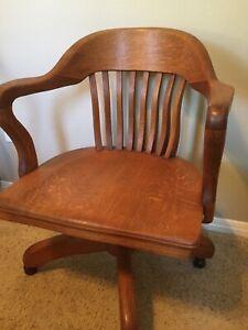 Antique Solid Quatersawn Oak Wood Swivel Office Chair