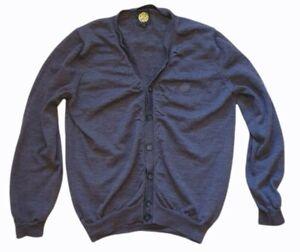 pretty green mens cardigan button up smart casual autumn wear grey size l