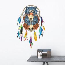Indian Wolf Head Feather Girl Wall Sticker Vinyl Decal Home Room Decor Art Mural