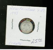 1943 Newfoundland Canada 5 Cents # Y 19 Silver Coin