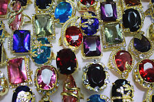 Wholesale Lots 12pcs Huge Colorful Wedding party CZ Rhinestone Gold P Ring New