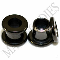 1464 Screw-on / fit Black 0G Gauge 8mm Flesh Tunnels Ear Plugs Earlets Steel