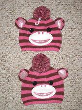 Twin girls MONKEY GLITTER HOT PINK STRIPES Winter Snow caps hats NWT 4 5 6