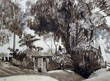 ROBERT KIRKLAND JAMIESON Watercolour Painting TREES AMONG EARTHWORK c1930
