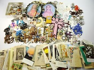 Huge Religious Lot of Catholic Crucifix Cross Rosaries Medals Jewelry Holy Cards