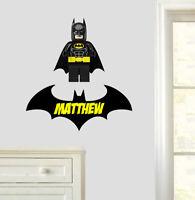 Personalised Lego Batman Wall Art Stickers Bedroom Decals Superhero