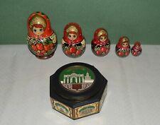 Schmuckdose Spieluhr Moskau UdSSR Russland CCCP + Holz Matroschka Holzpuppen