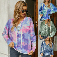 Women Casual Tie-dye Hoodie Tops T Shirt Long Sleeve Loose Tops Tunic Blouse US