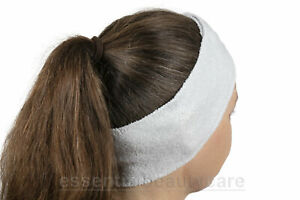 10 x White STRETCHY terry towelling toweling headband with fastening