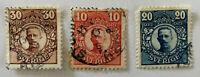 Sweden Sverige King Gustaf 5 10, 20 & 30 Ore Stamps 1910-1919