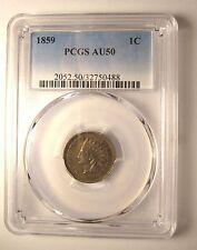 1859 Indian Head Cent PCGS AU50 2052.50/32750488 RARE Exquisite Coin!