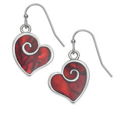 Tide Jewellery inlaid red Paua shell heart swirl hook earrings ~ hypo allergenic