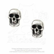 ALCHEMY ENGLAND Gothic Skulls Surgical Steel Pewter STUD EARRINGS Death Studs