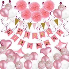 Birthday Decorations, 79 pcs Balloons Party Decoration for Girl Women with Pink