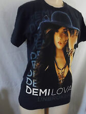 "DEMI LOVATO UNBROKEN TOUR 2011 NAVY BLUE T-SHIRT 28"" LONG   100% COTTON SMALL"