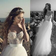 New Beach Spaghetti Strap Backless Lace Tulle Wedding Bridal Dress Custom Size