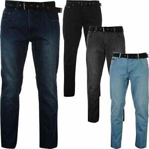Mens Pierre Cardin Designer Straight Belted Denim Jeans Trousers Size 30-40