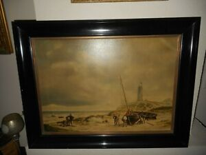 Large old oil painting,{ Coast scene, men working on sailboats, is signed }.