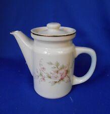 """Tea Pot by Sadler Windsor Fine Porcelain 5"""" White Gold rim & accents Pink flower"""