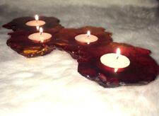 Candle Holder Resin Gothic  Lava Puddle Fire Dragon Red