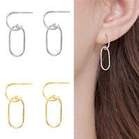 Solid 925 Sterling Silver Linked Oval Hoop Drop Oval Circle Line Stud Earrings