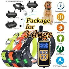 800M Ip6X Waterproof Remote Control Dog Shock Training Collar Lcd Display 3 Dogs