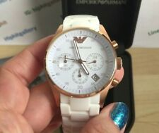 BRAND NEW EMPORIO ARMANI WHITE SILICONE AR5920 CHRONOGRAPH LADIES WOMENS WATCH