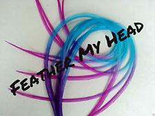 Feather Hair Extensions Multi Color Rainbow Ombre Tye Dye Medium Length 10 Pc
