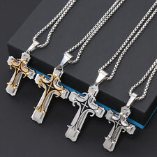 Men Stainless Steel Cross Crucifix Gold Silver Pendant Rope Cuban Chain Necklace