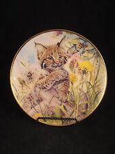 Let's Bee Friends Bobcat/Lynx & Bee by Glen Loates Franklin Mint plate