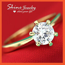 9K GOLD GF 1CT SOLITAIRE LAB DIAMOND SOLID LADIES ENGAGEMENT WEDDING CLAW RING
