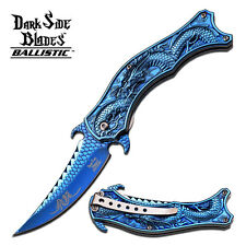 Dark Side Blades Dragon Spring Assisted Pocket Knife Metallic Blue Fantasy New
