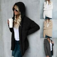 Women's Long Sleeve Cardigan Loose Sweater Hoodies Solid Winter Fuzzy Long Coat