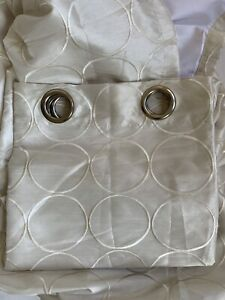 "Set 4 Curtain Panels 84""x 54"" Beige/Off White Grommet Lined Embroidered Circle"